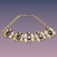 Edwardian Faceted Amethyst Glass Necklace 1910s Cutwork Stations