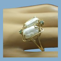 Cultured Baroque Pearl and Emerald Gemstone Ladies Ring, 10k Gold, Jeweler Crafted