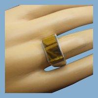 Artist Handmade Tiger Eye Band Ring, Vintage 1960s Modernist Design