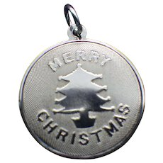 Sterling Merry Christmas Charm For Pendant or Bracelet, Signed Vintage 1960s