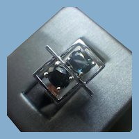 Modernist Blue Spinel Gemstone Ring, 10k White Gold Mounting
