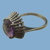 Arts and Crafts Era White Gold & Alexandrite Gemstone Ring, 1940s Handmade
