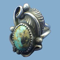 Native American Signed Sterling & Turquoise Ring, JB Platero
