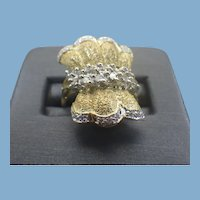 14k Yellow Gold Ribbon Ring with Diamonds, 1970s