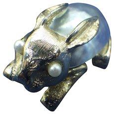 Swoboda Inc Signed Bunny Rabbit Brooch, Mabe' Pearl Body, 1960s