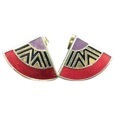 Signed Laurel Burch Enamel Face Pierced Earrings Vintage 1980