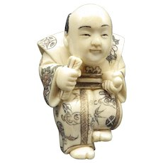 Antique Japanese Netsuke' Handcarved, Maker's mark, Figural Man Okimono