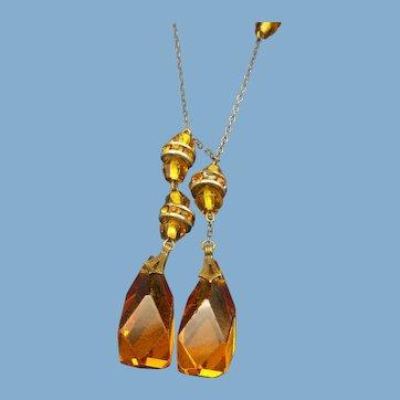 Czech Crystal Drop Lavaliere Necklace, 1920s Victorian Revival