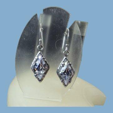 Silpada Signed Diamond Drop Pierced Earrings, Sterling Silver