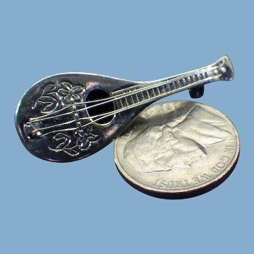 BEAU Sterling Mandolin Brooch, Three Dimensional Design with Strings