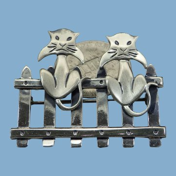 Beau Sterling Cats on a fence Brooch, Vintage 1960s