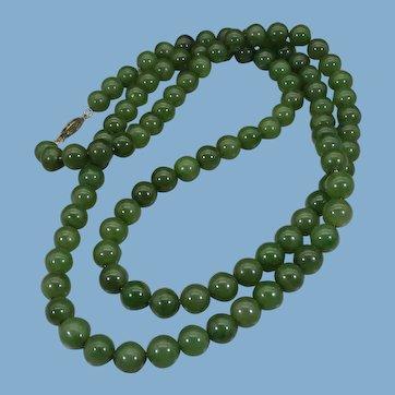 Nephrite Jade Long Necklace, Vintage 1960s
