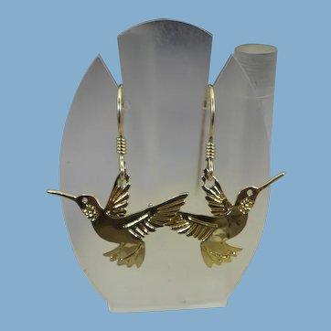 Wild Bryde Hummingbird Earrings, Gold Filled, 1980s
