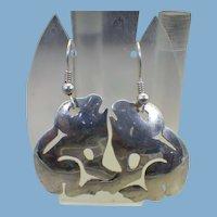 Funky Sterling Frog Earrings, Artist Handmade Vintage 1960s