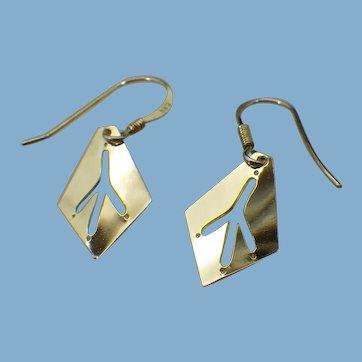 Bird Foot Print Drop Earrings, Gold Vermeil