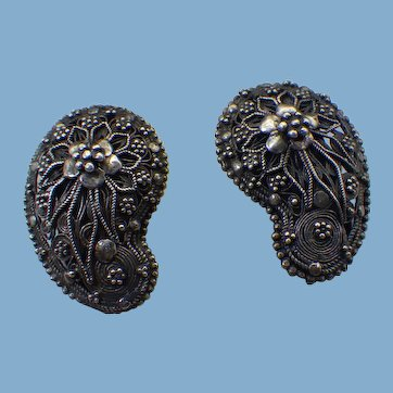 Artist Handmade 900 Silver Clip Earrings, Cannetille Wire Work