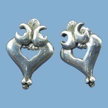 Wax Cast Sterling Earrings, Post Findings, One Of A Kind Vintage