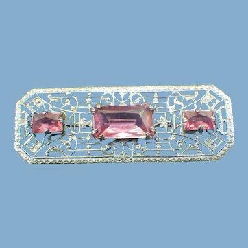 Art Deco Filigree Brooch, Faceted Pink Stones, 1930s