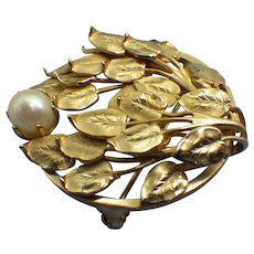 1940s Layered Leaves Brooch, Cultured Pearl Accent