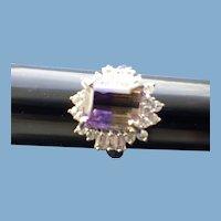 Sterling Ametrine Gemstone Dinner Ring, Brilliant CZ Stone Surround