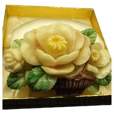 Japanese Tinted Celluloid Floral Basket Brooch 3-D 1940s