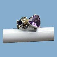 Signed Sajen Gemstone Ring, Amethyst & Iolite, Vintage 1980s