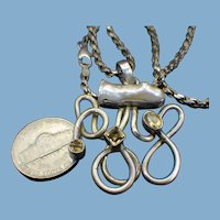 Citrine, Baroque Pearl & Sterling Modernist Pendant Necklace