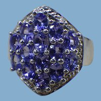 Tanzanite Gemstone Ring, Sterling Silver, US Size 7