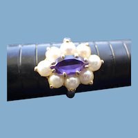 14k Gold & AAA Amethyst Gemstone Ring with Cultured Pearls