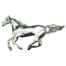 Sterling Running Horse Brooch, Beautifully Detailed Vintage