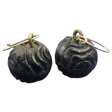 Antique Victorian Earrings, Mourning Jewelry 1860s