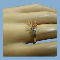 Spessartite Garnet Gemstone Ring, 10k Yellow Gold, Diamond Accents