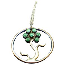 Zuni, Petit Point Tree Of Life Pendant Necklace, Sterling 1960s, Signed