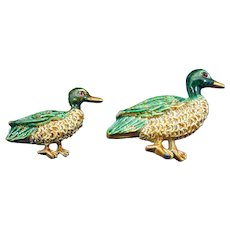 1950s Pair Of Duck Pins, Scatter Pins, Signed Gerry's