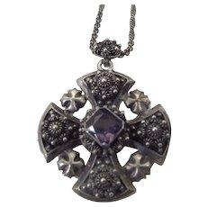 Jerusalem Cross Pendant Necklace, Cannetille Wire Work, Sterling Silver