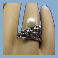 Modernist Handmade Sterling, Pearl & Sapphire Ring, One Of A Kind