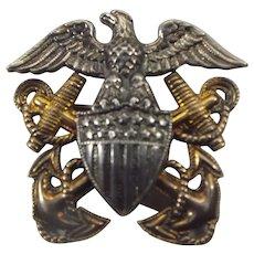 World War Two Navy Hat Badge, Military Memorabilia