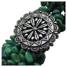 Vintage Turquoise Sterling Bracelet Southwestern Style