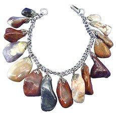 1970s Tumbled Gemstone Bracelet, Polished Agates