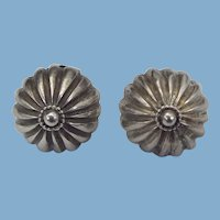 Sterling Handmade Arts & Crafts Clip On Earrings, 1940s