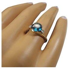Signed 10K Gold Ring, London Blue Topaz Gemstone, White Topaz Accents, 1960s