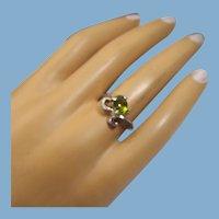 Peridot Gemstone Ring, Sterling Silver Setting, Vintage Artist Handmade