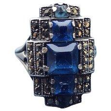 Art Deco Sterling & Marcasite Ring By Uncas, Fabulous Antique 1920s