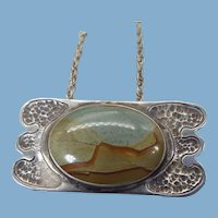 Native American Artist Handmade Necklace, Picture Jasper Stone, One Of A Kind
