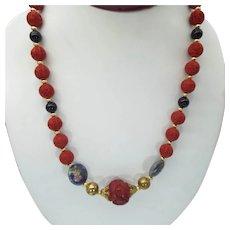 Vintage Cinnabar & Cloisonne' Beaded Necklace, Asian Design