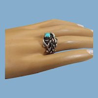 Jeweler Handmade Sterling Modernist Ring, Turquoise Stone, One Of A Kind