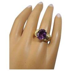 Gold Vermeil Ring, Vintage Man Made Alexandrite Stone, 1960s
