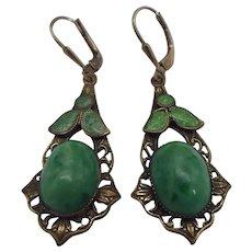 Victorian Revival Pierced Earrings, Peking Glass & Enamel, Unsigned Czech 1920s
