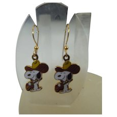 """United Features """"Snoopy"""" Pierced Earrings, Vintage Charles Schultz Character"""