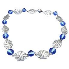 Art Deco, 1930s Beaded Geometric Choker Necklace, Beautiful Blue Color